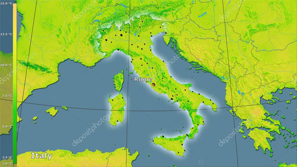 Mean diurnal temperature variation within the Italy area in the stereographic projection with legend - main composition