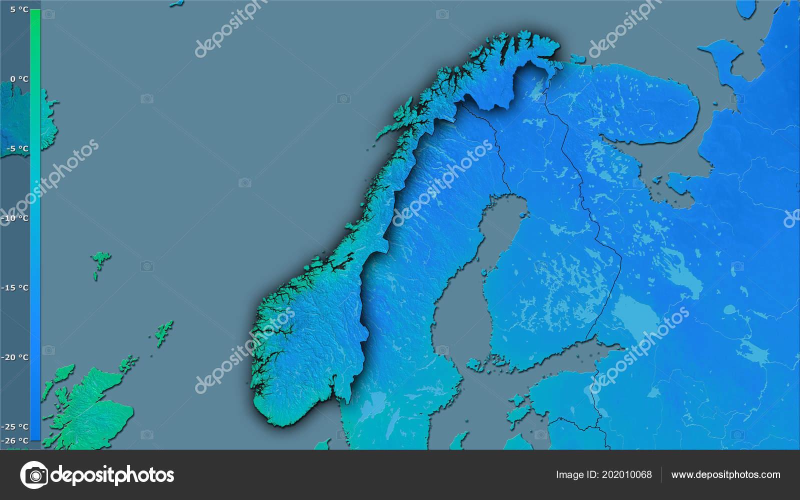 minimum temperature coldest month norway area stereographic