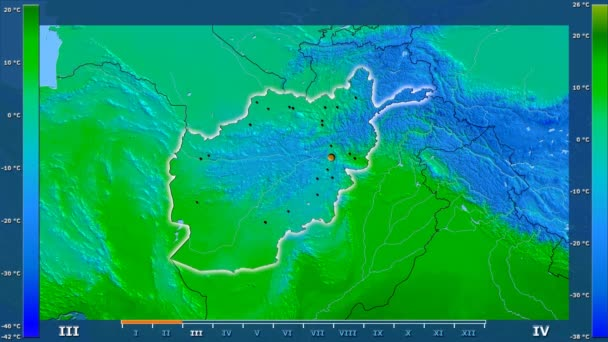 Minimum temperature by month in the Afghanistan area with animated legend - glowing shape, administrative borders, main cities, capital. Stereographic projection