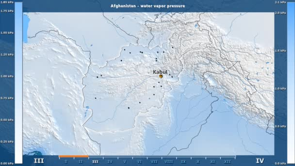 Water vapor pressure by month in the Afghanistan area with animated legend - English labels: country and capital names, map description. Stereographic projection
