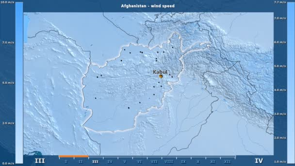 Wind speed by month in the Afghanistan area with animated legend - English labels: country and capital names, map description. Stereographic projection