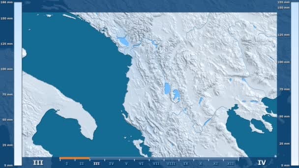 Precipitation by month in the Albania area with animated legend - raw color shader. Stereographic projection