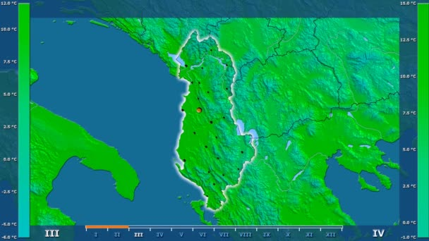Average temperature by month in the Albania area with animated legend - glowing shape, administrative borders, main cities, capital. Stereographic projection
