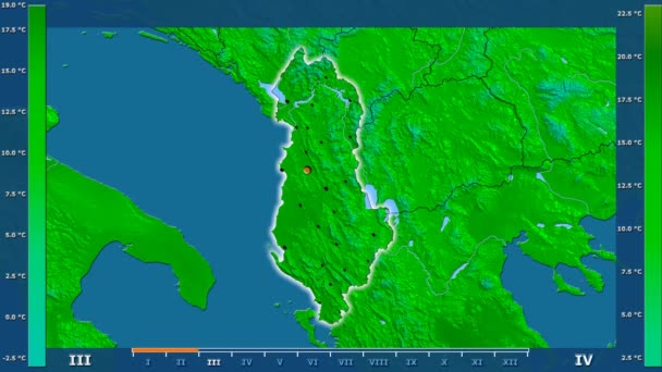 Maximum temperature by month in the Albania area with animated legend - glowing shape, administrative borders, main cities, capital. Stereographic projection