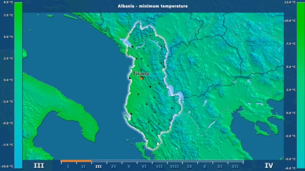 Minimum temperature by month in the Albania area with animated legend - English labels: country and capital names, map description. Stereographic projection