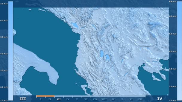 Wind speed by month in the Albania area with animated legend - raw color shader. Stereographic projection