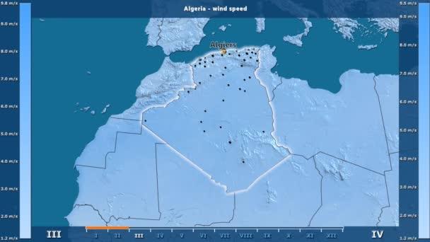 Szélsebesség havonta az Algéria területén animált legenda - angol felirat: ország és a főváros neve, leírás megjelenítése. Számítások Sztereografikus vetület