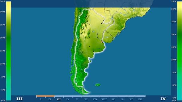 Maximális hőmérséklet által hónap animált legenda - izzó, alakú, közigazgatási határok, főbb városok, tőke az Argentína területén. Számítások Sztereografikus vetület