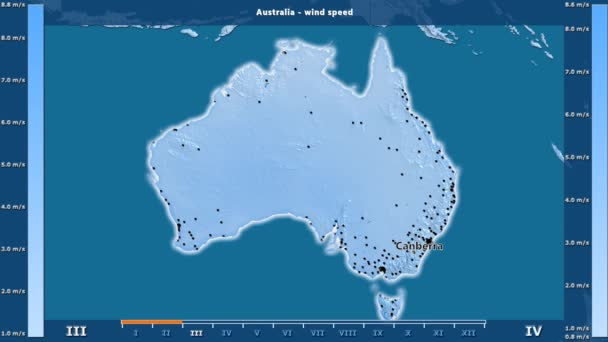 Australia Map Video.Wind Speed By Month In The Australia Area With Animated Legend English Labels Country And Capital Names Map Description Stereographic Projection