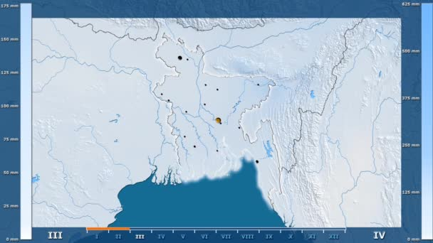Precipitation by month in the Bangladesh area with animated legend - glowing shape, administrative borders, main cities, capital. Stereographic projection
