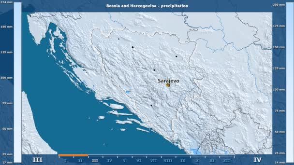 Srážky za měsíc v oblasti Bosny a Hercegoviny s animovanou legendou - anglické popisky: země a velké názvy, popis mapy. Stereografická projekce