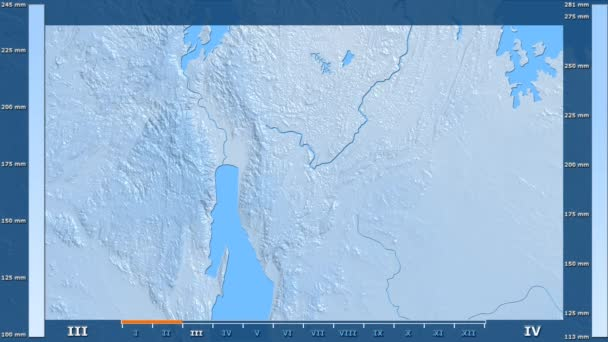 Precipitation by month in the Burundi area with animated legend - raw color shader. Stereographic projection