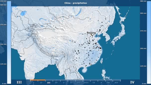 Srážky za měsíc v oblasti Číny s animovanou legendou - anglické popisky: země a velké názvy, popis mapy. Stereografická projekce