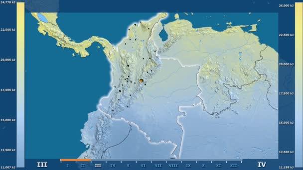 Animasyonlu efsanesi - parlayan şekli, idari sınırları, ana şehirler, sermaye ile Kolombiya alanında güneş radyasyonu aya göre. Sterografik projeksiyon