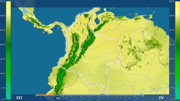 Animasyonlu efsanesi - parlayan şekli, idari sınırları, ana şehirler, sermaye ile Kolombiya alanında maksimum sıcaklık aya göre. Sterografik projeksiyon