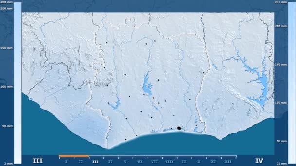 Fildişi Sahili alanda animasyonlu gösterge - parlayan şekli, idari sınırları, ana şehirler, sermaye ile yağış aya göre. Sterografik projeksiyon