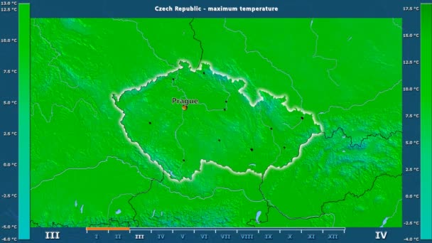 Maximum temperature by month in the Czech Republic area with animated legend - English labels: country and capital names, map description. Stereographic projection