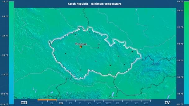 Minimální teploty podle měsíců v oblasti České republiky s animovanou legendou - anglické popisky: země a velké názvy, popis mapy. Stereografická projekce