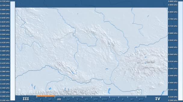 Tlak vodní páry podle měsíce v oblasti České republiky s animovanou legendou - syrové barevného shaderu. Stereografická projekce