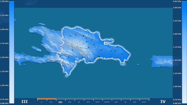 Animasyonlu gösterge - parlayan şekli, idari sınırları, ana şehirler, sermaye ile Dominik Cumhuriyeti bölgede su buharı basıncı aya göre. Sterografik projeksiyon