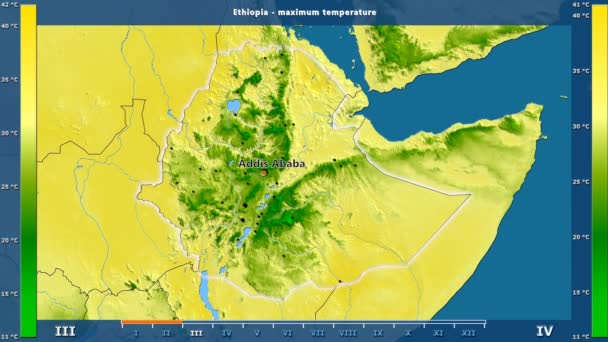 Maximum temperature by month in the Ethiopia area with animated legend - English labels: country and capital names, map description. Stereographic projection