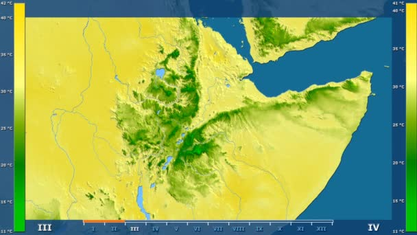 Maximum temperature by month in the Ethiopia area with animated legend - raw color shader. Stereographic projection
