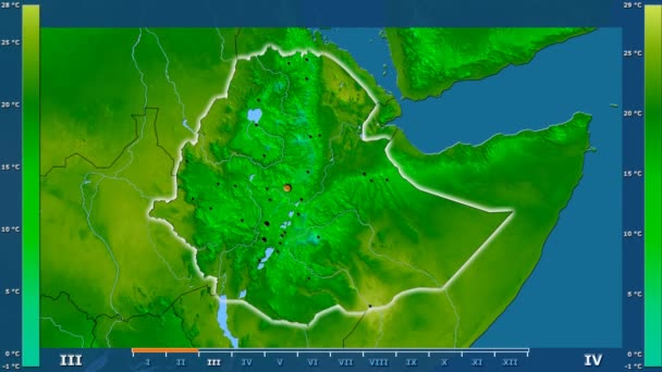 Minimum temperature by month in the Ethiopia area with animated legend - glowing shape, administrative borders, main cities, capital. Stereographic projection