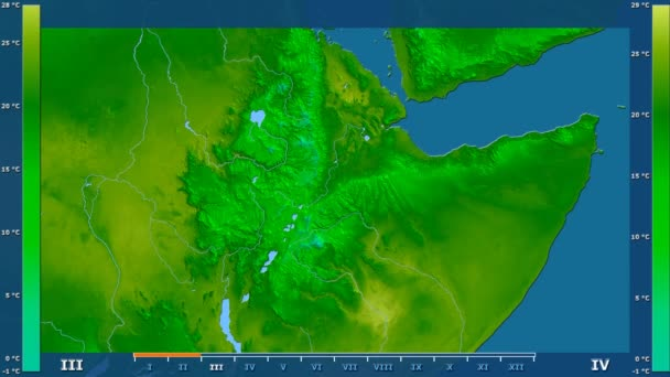 Minimum temperature by month in the Ethiopia area with animated legend - raw color shader. Stereographic projection