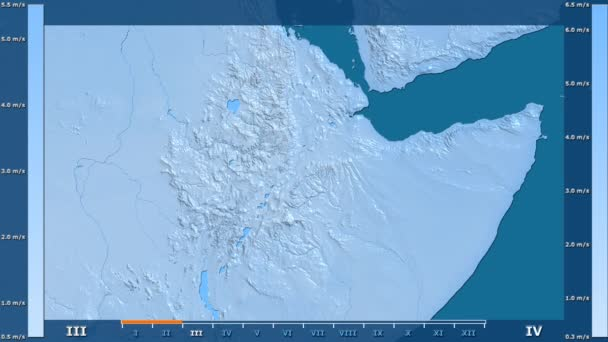 Wind speed by month in the Ethiopia area with animated legend - raw color shader. Stereographic projection