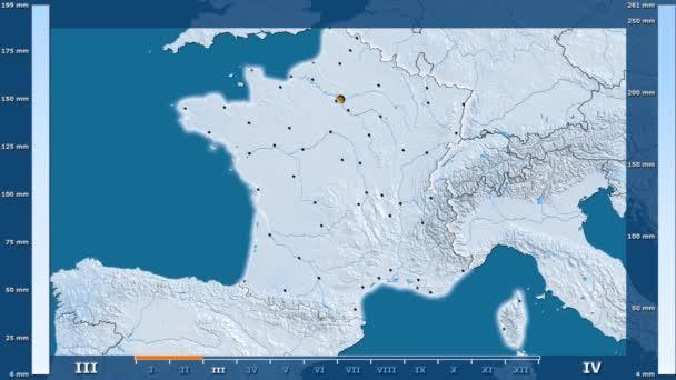 Srážky za měsíc v oblasti Francie s animovanou legendou - zářící tvar, administrativní hranice, hlavní města, hlavního města. Stereografická projekce