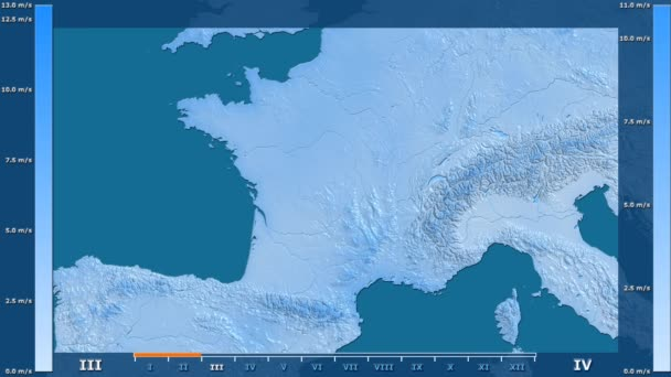 Wind speed by month in the France area with animated legend - raw color shader. Stereographic projection