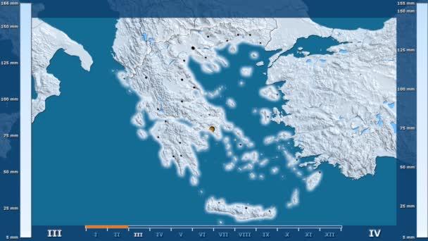 Animasyonlu gösterge - parlayan şekli, idari sınırları, ana şehirler, sermaye ile Yunanistan bölgede yağış aya göre. Sterografik projeksiyon