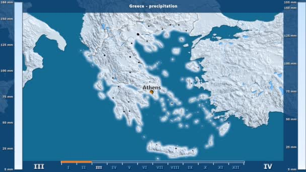 Precipitation by month in the Greece area with animated legend - English labels: country and capital names, map description. Stereographic projection