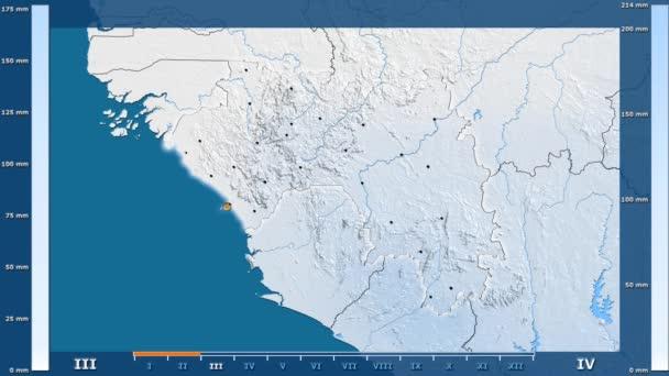 Animasyonlu gösterge - parlayan şekli, idari sınırları, ana şehirler, sermaye ile Gine bölgede yağış aya göre. Sterografik projeksiyon