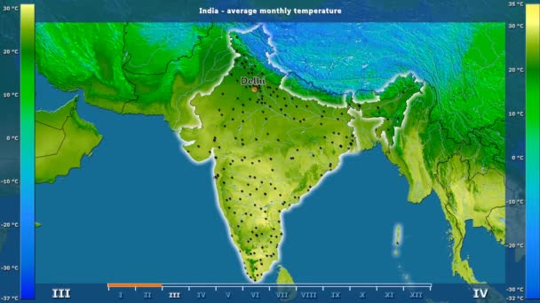 Average temperature by month in the India area with animated legend - English labels: country and capital names, map description. Stereographic projection