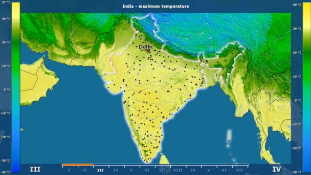 Maximum temperature by month in the India area with animated legend - English labels: country and capital names, map description. Stereographic projection