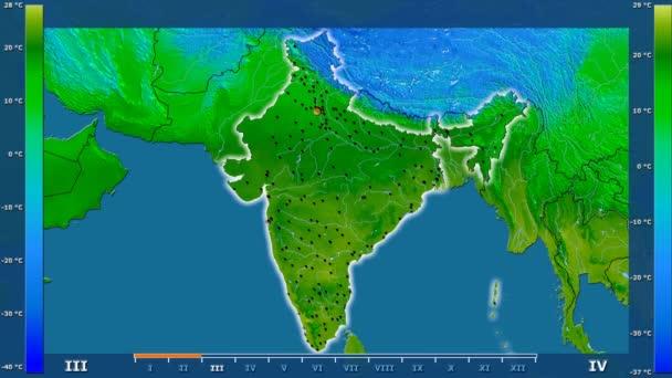 Minimální teplota podle měsíce v oblasti Indie s animovanou legendou - zářící tvar, administrativní hranice, hlavní města, hlavního města. Stereografická projekce