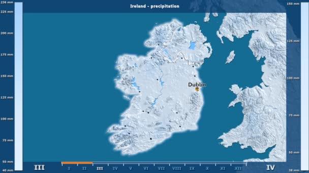 Precipitation Month Ireland Area Animated Legend English Labels