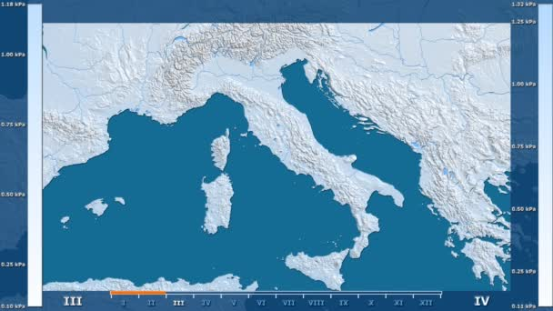 Water vapor pressure by month in the Italy area with animated legend - raw color shader. Stereographic projection