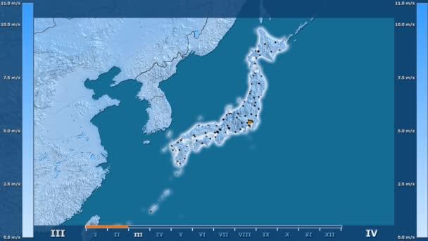 Rychlost větru podle měsíce v oblasti Japonska s animovanou legendou - zářící tvar, administrativní hranice, hlavní města kapitálu. Stereografická projekce