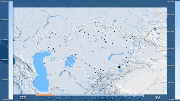 Srážky za měsíc v oblasti Kazachstánu s animovanou legendou - zářící tvar, administrativní hranice, hlavní města, hlavního města. Stereografická projekce