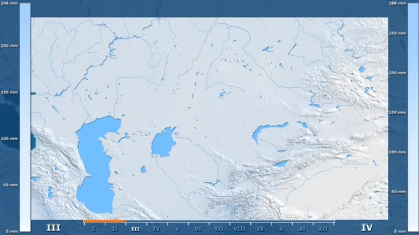 Precipitation by month in the Kazakhstan area with animated legend - raw color shader. Stereographic projection