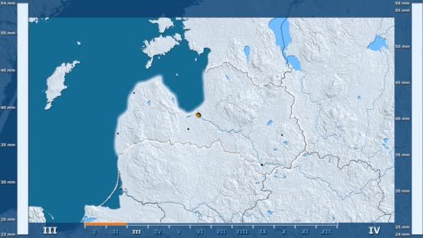 Srážky za měsíc v oblasti Lotyšsko s animovanou legendou - zářící tvar, administrativní hranice, hlavní města, hlavního města. Stereografická projekce