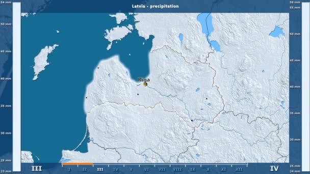 Srážky za měsíc v oblasti Lotyšsko s animovanou legendou - anglické popisky: země a velké názvy, popis mapy. Stereografická projekce