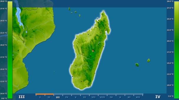 Átlaghőmérséklet havonta az animált legenda - izzó, alakú, közigazgatási határok, főbb városok, tőke Madagaszkár területén. Számítások Sztereografikus vetület