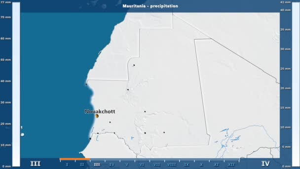 Precipitation by month in the Mauritania area with animated legend -  English labels: country and capital names, map description  Stereographic  projection