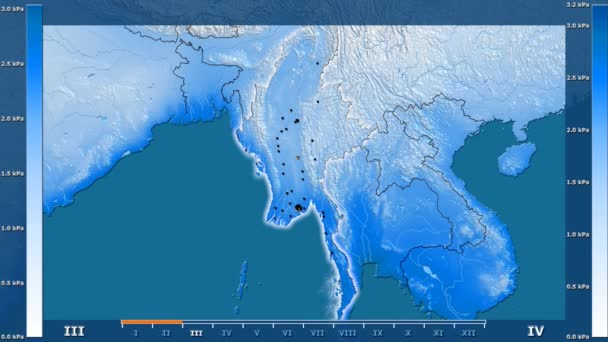 Water vapor pressure by month in the Myanmar area with animated legend - glowing shape, administrative borders, main cities, capital. Stereographic projection