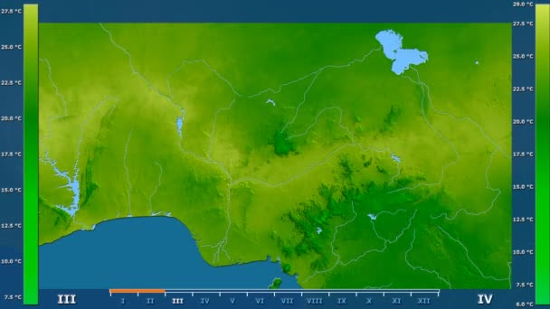 Minimum temperature by month in the Nigeria area with animated legend - raw color shader. Stereographic projection