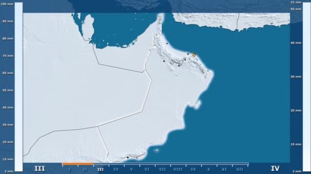 Animasyonlu gösterge - parlayan şekli, idari sınırları, ana şehirler, sermaye ile Umman bölgede yağış aya göre. Sterografik projeksiyon