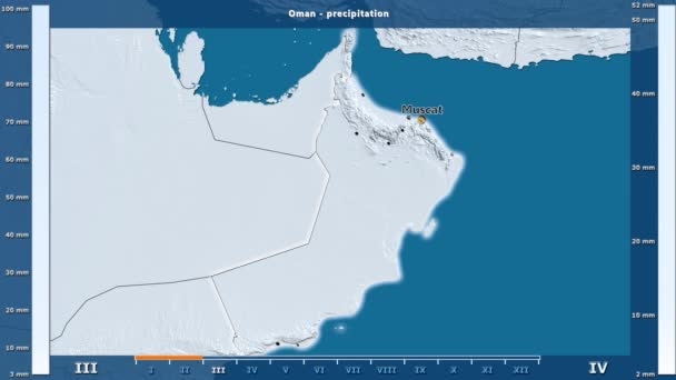 Precipitation by month in the Oman area with animated legend - English  labels: country and capital names, map description  Stereographic projection